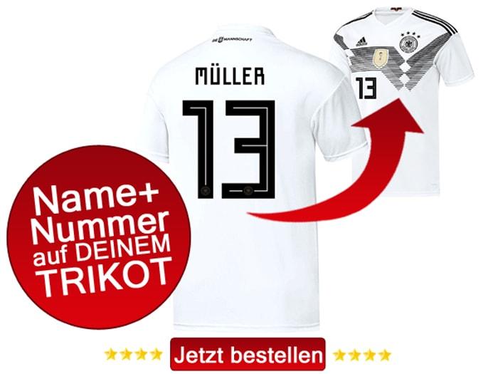 Das neue weiße DFB Trikot 2018 mit eigenem Namen und Beflockung.