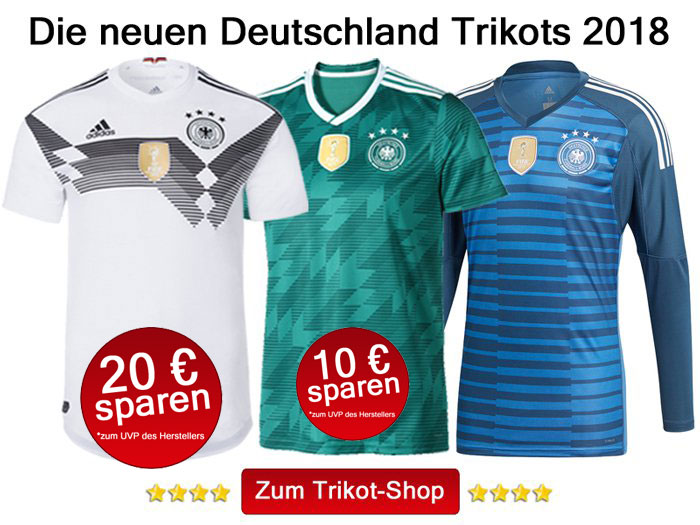 Das neue Deutschland Heimtrikot 2018 in weiß, das DFB Away Trikot 2018 in grün und das blaue DFB Torwarttrikot 2018.